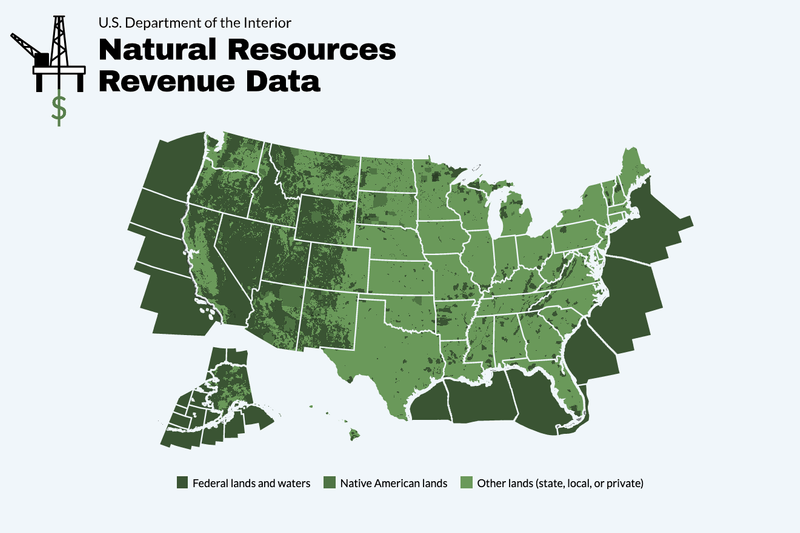 Screen capture of a land ownership data map of the United States.