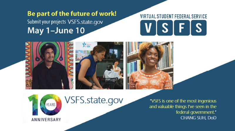 Virtual Student Federal Service 10 year anniversary graphic with 2019 registration dates and photos of past interns.