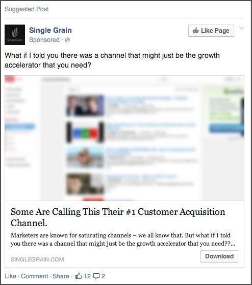 Curiosity in a Facebook Ad