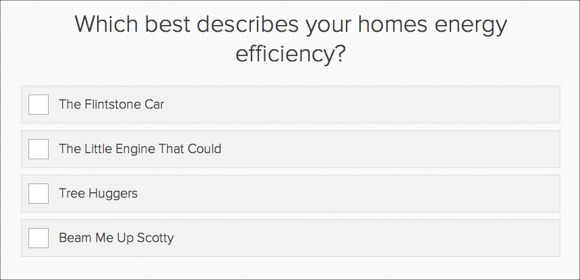 A question from the quiz: Which best describes your home's energy efficiency?