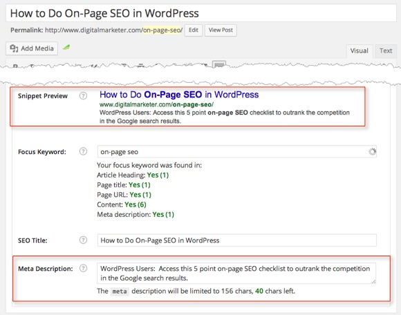 On Page SEO - The Meta Description