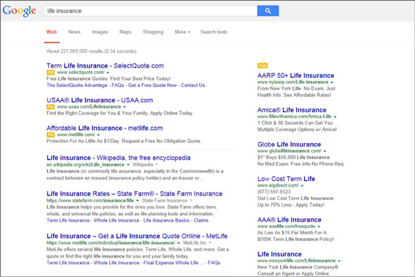 AdWords in the Search Results