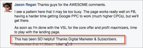Landing Page Critique - Thank you