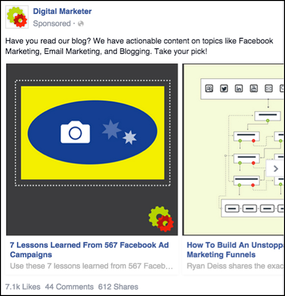 First panel of a Facebook Carousel Ad to Blog Content