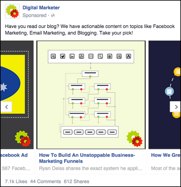 Second panel of a Facebook Carousel Ad to Blog Content