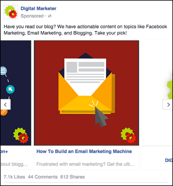 Fourth panel of a Facebook Carousel Ad to Blog Content