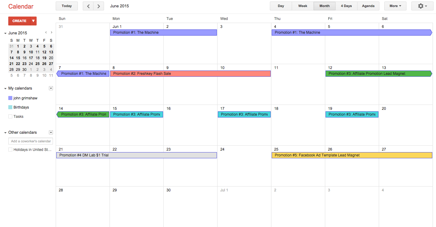 Sample 1-Month Digital Marketer Calendar