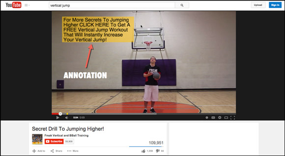 YouTube annotation call to action
