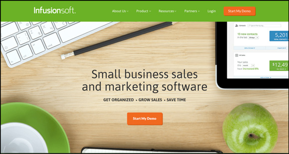 Infusionsoft headline on their homepage