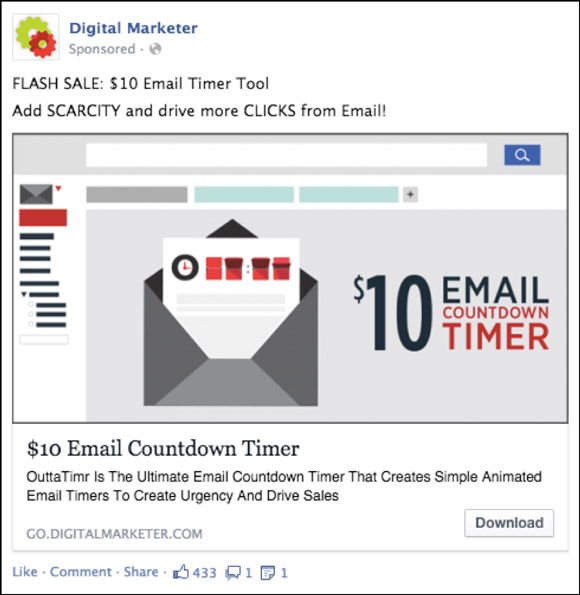 DigitalMarketer Facebook ad from Email Countdown Timer