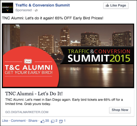 DigitalMarketer Facebook ad for Traffic & Conversion Summit 2015 Early Bird