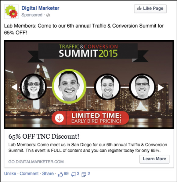 DigitalMarketer Facebook ad for Traffic & Conversion Summit 2015