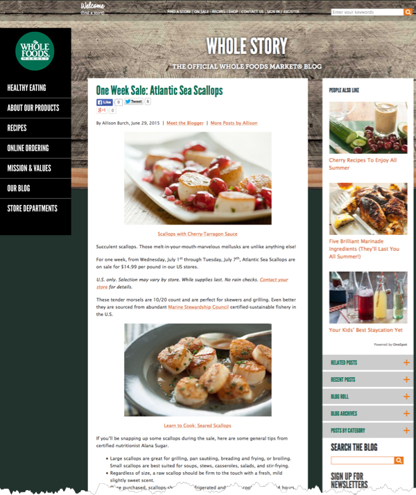 Content Marketing - Whole Foods