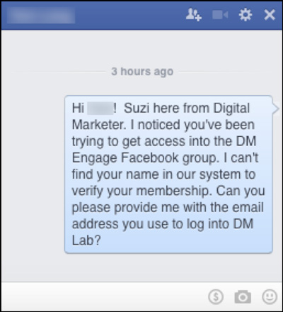 Suzi following up with a person in Facebook Messenger about their request to join DM Enage