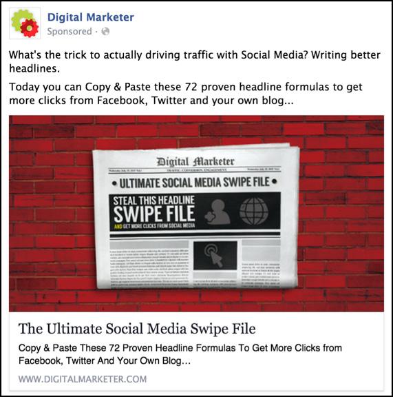 Create The Perfect Facebook Ad - Digital marketer facebook ad template