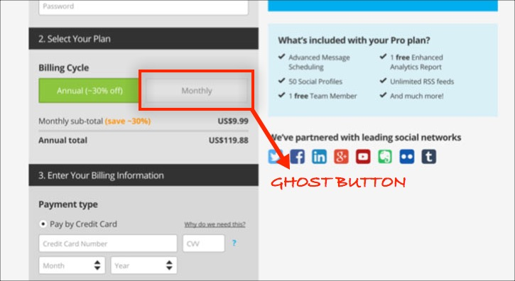 Hootsuite ghost button