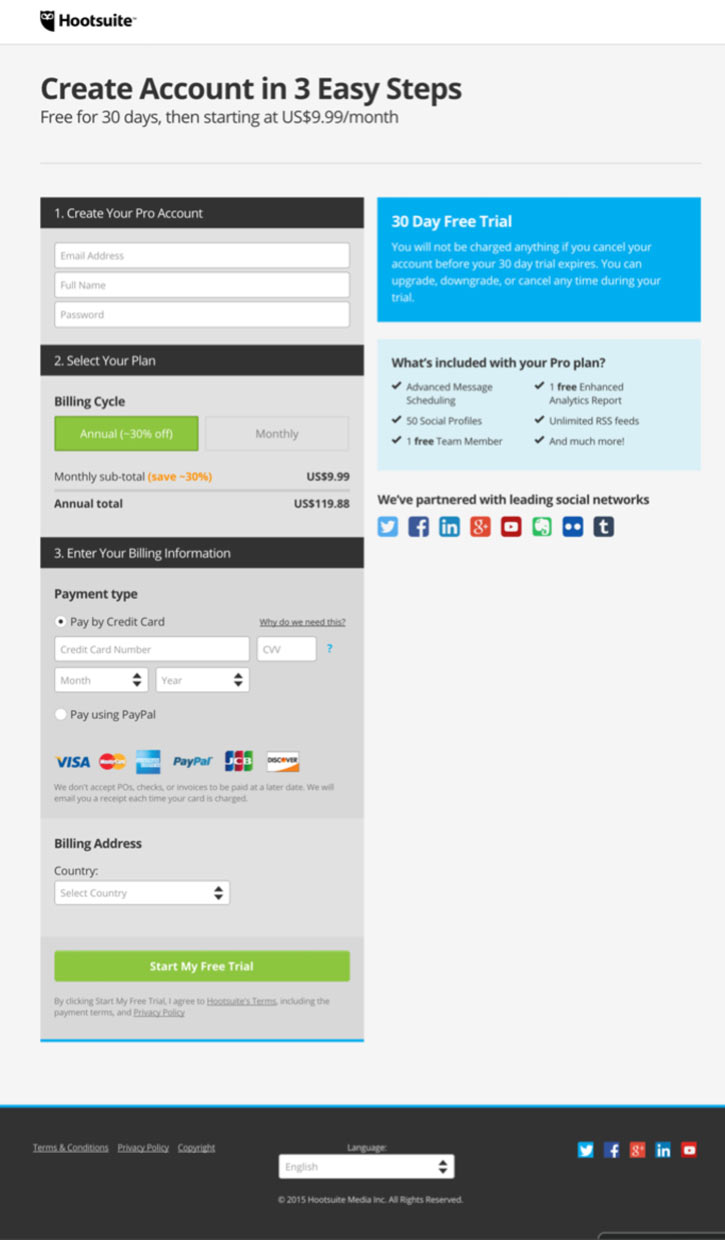 Hootsuite Form Page