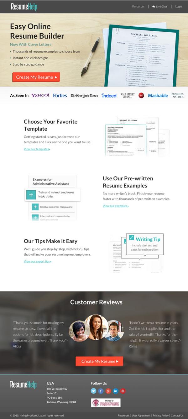 Resume Help Landing Page