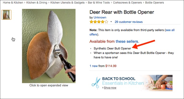 Synthetic Deer Butt Opener