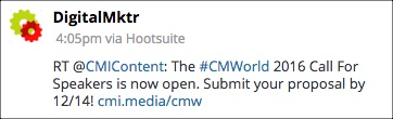 Digital Marketer Shares Content Marketing Institute Tweet
