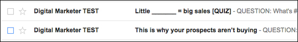 The two email subject lines we split tested