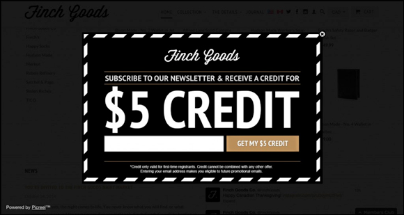 An exit-intent pop-up from Finch Goods offering a $5 credit.