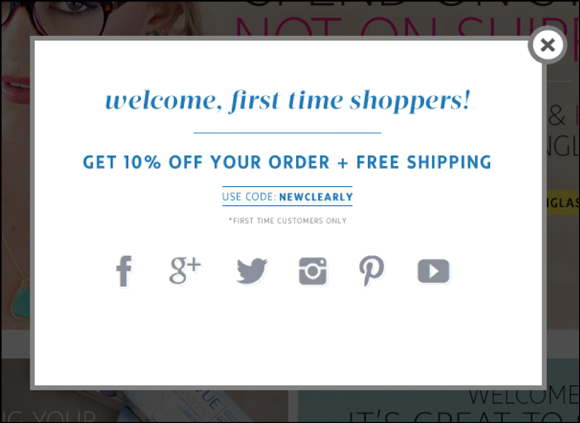 An exit-intent pop-up from Clearly offering 10% off your order and free shipping