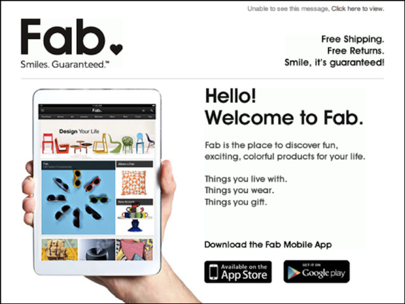 Welcome email from Fab