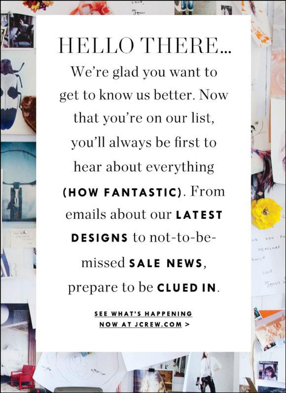 J.Crew welcome email
