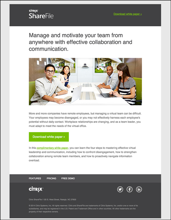 Citrix lead nurture email