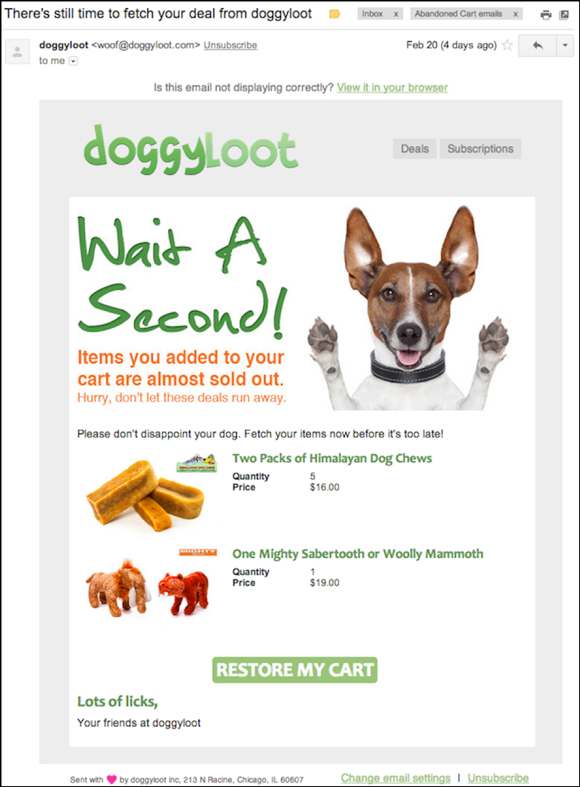 Doggyloot cart abandonment email