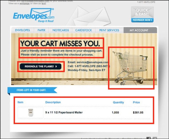 Envelopes.com Shopping Cart Reminder