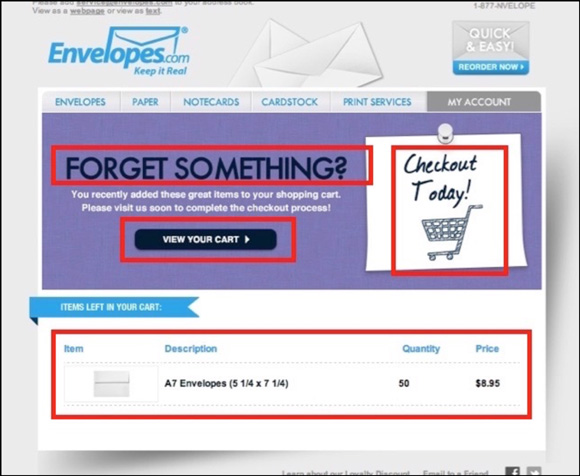 Envelopes.com Cart Abandonment Email