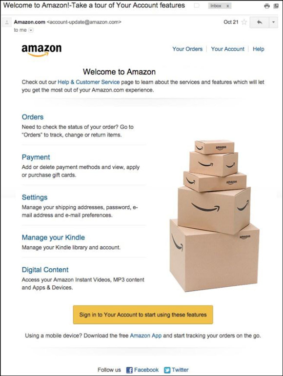 Example of Amazon Welcome Email