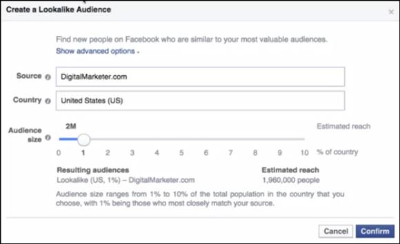 Gestor de anúncios do Facebook da audiência de Lookalike