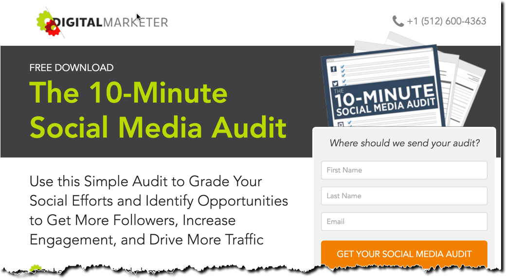 The 10-Minute Social Media Audit Lead Magnet Landing Page