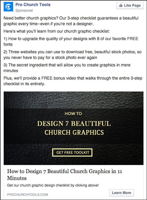 Pro Church Tools Facebook ad
