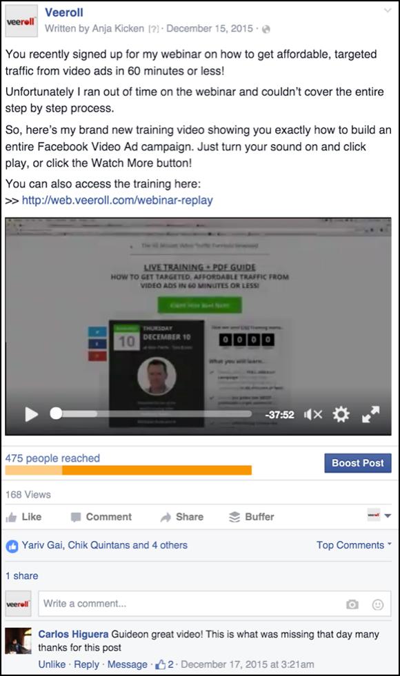 Veeroll Facebook Ad
