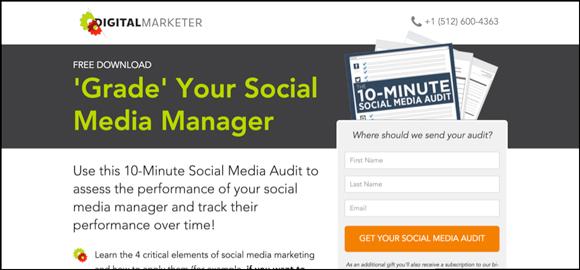 10-Minute Social Media Audit landing page optimized
