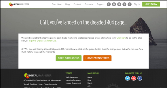 DigitalMarketer's 404 Page