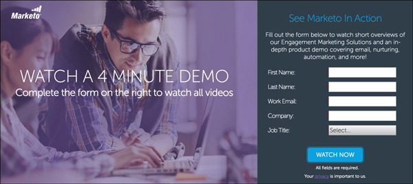 Marketo is using a video tool demo as a Lead Magnet to entice people to try out their tool