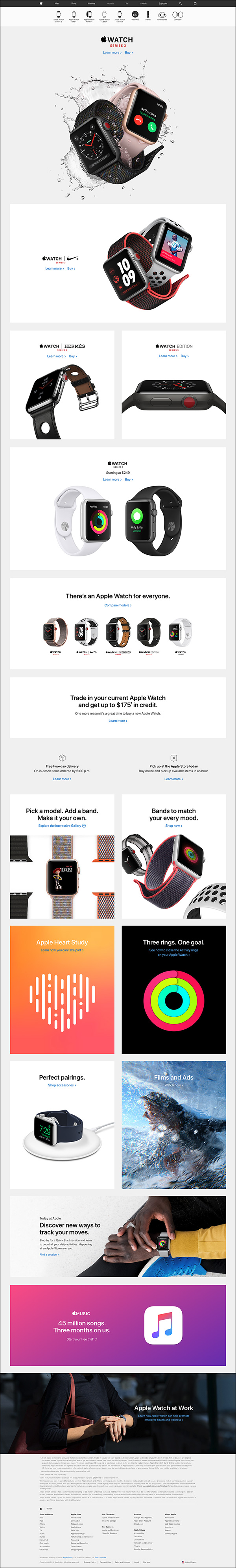 Apple watch product page