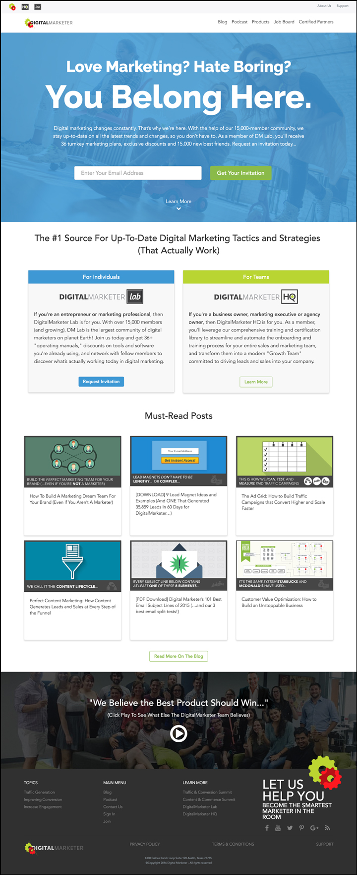 The DigitalMarketer homepage