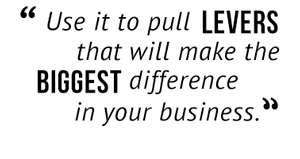 """Use it to pull levers that will make the biggest difference in your business."""