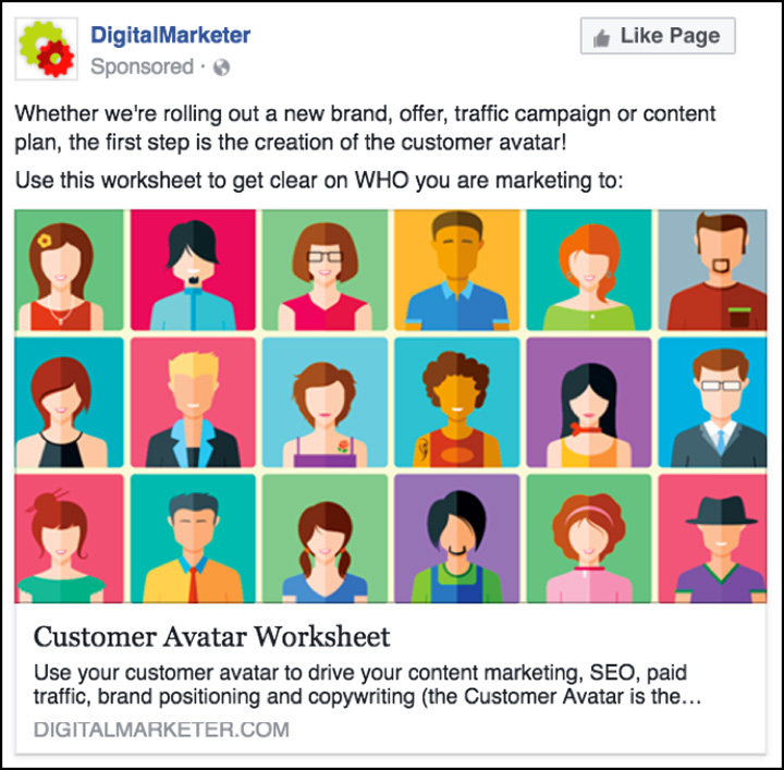DigitalMarketer Facebook ad for the Customer Avatar Worksheet
