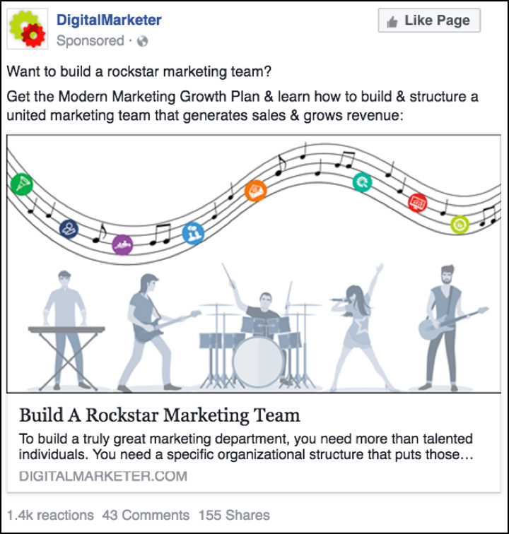 """The Modern Marketing Growth Plan"" Facebook ad"