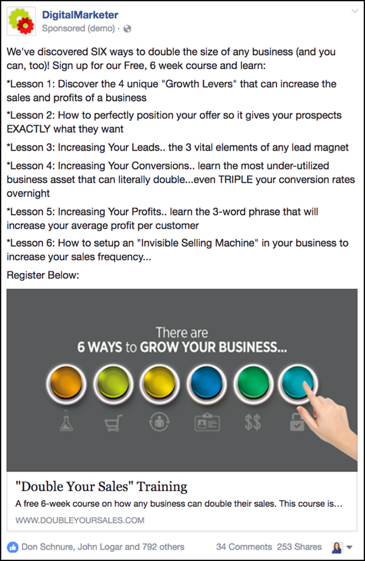 """Double Your Sales"" Facebook ad from 2015"