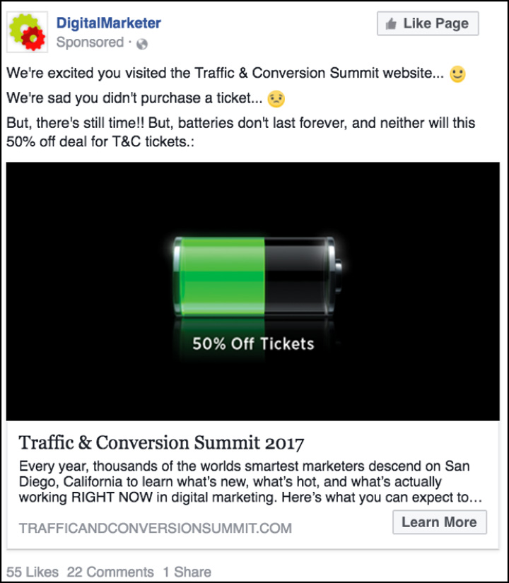Traffic & Conversion Facebook ad three weeks before price increase