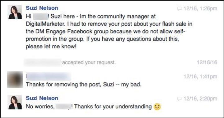 An example of Suzi reaching out to a DM Engage member privately about a rule violation