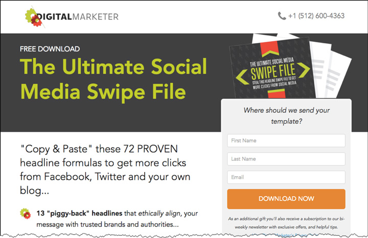 The Ultimate Social Media Swipe File landing page